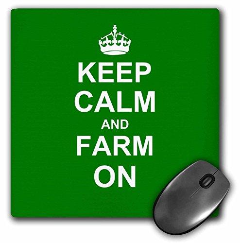 3drose LLC 20,3x 20,3x 0,6cm Maus Pad, Keep Calm And Farm On Carry On Geschenk für Landwirte grün Motivational motivierend beruhigen (MP _ 157717_ 1)