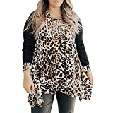 Linkay T Shirt Damen Langarm Bluse O-Neck Tops Patchwork Leopard Oberteile Mode 2022 (Kaffee, X-Large)