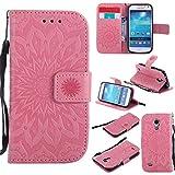 Galaxy S4 Mini Hülle [mit Frei Panzerglas Displayschutzfolie], BoxTii® Galaxy S4 Mini Schutzhülle mit Kartenfächern und Bumper Silikon TPU Cover, Premium Lederhülle Leder tasche Handyhülle mit Standfunktion für Samsung Galaxy S4 Mini (#3 Pink)