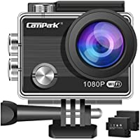 【Upgraded】Action Camera,Campark ACT68 Sport Cam Wifi 1080P Full HD Underwater Camera with 170° Wide-Angle 2 Inch LCD Display with 2 Rechargeable Batteries and Mounting Accessories Kit for Gopro