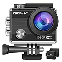 ??�Upgraded???Action Camera,Campark ACT68 Sport Cam Wifi 2.7K/1080P Full HD Underwater Camera with 170° Wide-Angle 2 Inch LCD Display with 2 Rechargeable Batteries and Mounting Accessories Kit
