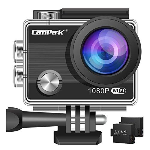 Campark ACT68 Action Cam 1080P/2.7K Full HD Kamera Wifi 12MP Unterwasserkamera Sport Action Camera mit 170° Weitwinkelund und 2 Batterienund Zubehör Kits