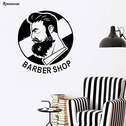 zqyjhkou Friseur Mit Band Logo Decor Vinyl Wandaufkleber Für männer Friseur Schaufenster Dekoration Wasserdicht Ba04 L 66x57 cm