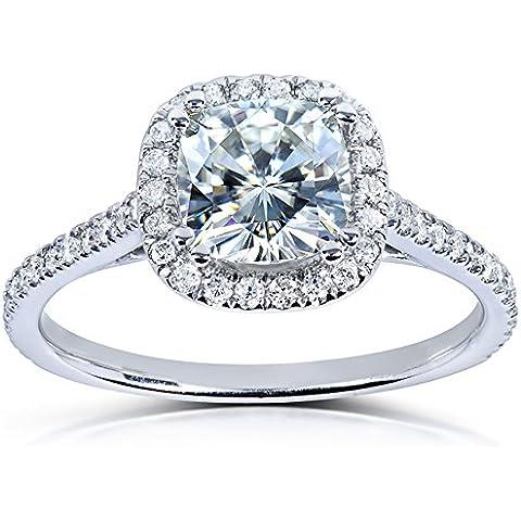 Moissanite & Cuscino con diamante 1/3-CTW in platino - Fedi In Platino Mens