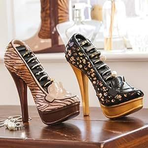 Lot de 2supports à bagues en forme de chaussure à talon haut