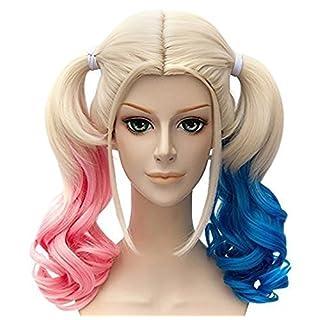 aicos Damenperücke Film Batman Joker Harley Quinn kurz mix blau und rosa Anime Cosplay Haar Perücke