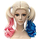 Aicos, Parrucca Harley Quinn, Batman, piega ondulata, colore: rosa e Blu, per Cosplay