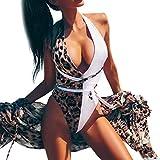 Geilisungren Badeanzug Damen Sexy V-Ausschnitt Neckholder One-Piece Bikini Set Bademode Beachwear Frauen Leopardenmuster Einteilige Badeanzüge Monokini Strandmode Schwimmanzug Strandkleidung