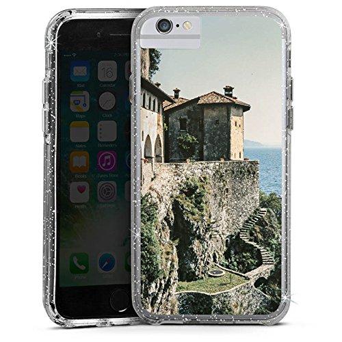 Apple iPhone 6s Bumper Hülle Bumper Case Glitzer Hülle Festung Mer Ocean Bumper Case Glitzer silber