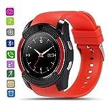 Smartwatch Damen Herren-CatShin CS05 Armband Sport Uhr Mit TF SIM Kartenschlitz Intelligent Armbanduhr Mit Camera Smart Watch Schrittzähler Schlaftracker Pulsmesser Kompatibel mit Android (Rot)