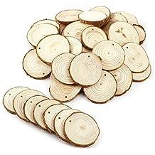 EVERGD - 30 discos de madera natural perforados sin terminar, con agujero para árbol de
