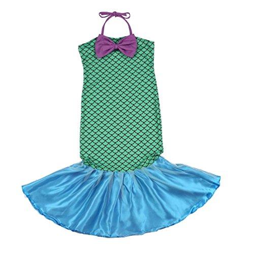 Oyamihin Kleine Meerjungfrau Schwanz Prinzessin Fancy Green Kleider mit Bogen für Halloween Weihnachten Cosplay Kostüm für Mädchen