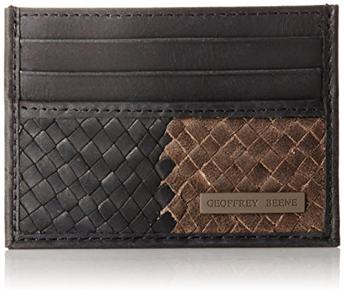 geoffrey-beene-mens-cardcase-with-basket-weave-facing-black-grey-one-size