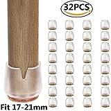 32PCS Tappi per gambe per sedie, copritavolo per mobili, adatti per gambe tonde 17-21mm, cuscinetti per piedi anti-graffi, cuscinetti in feltro antiscivolo, set per pavimenti in legno di silicone roto
