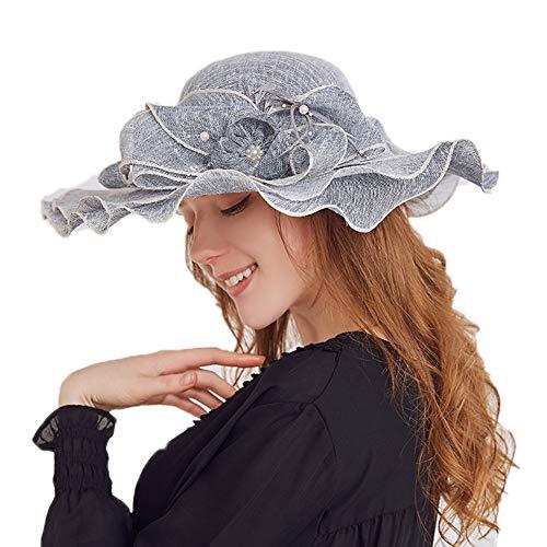 oral Flache große breite Krempe Gaze Derby Cap - Sonne Sommer Hut für Kirche Kentucky Hochzeit Party Beach Travel Outgoing,Black ()