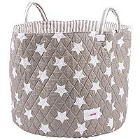 Minene Large Toy & Nursery Storage Basket, Grey Stars