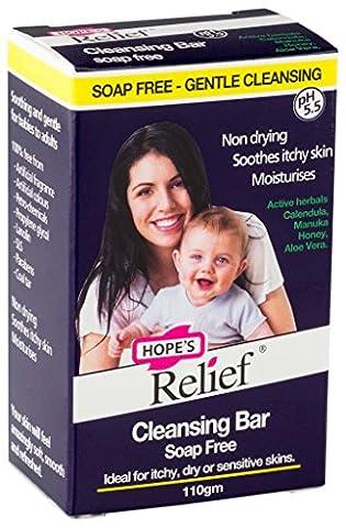 Hope's Relief Barre de Nettoyage sans Savon pour les Peaux Sujettes à l'Eczéma/au Psoriasis/à la Dermatite pour Bébé/Adulte