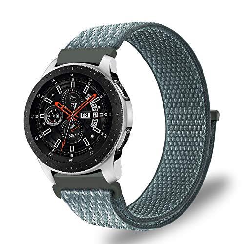FINTIE Cinturino per Samsung Galaxy Watch 46mm /Gear S3 Frontier /S3 Classic/Huawei Watch GT/Huawei Watch 2 Classic, 22mm Leggero Traspirante Sports Watch Strap in Nylon, Storm Gray [L]