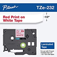 "‏‪Brother Genuine P-Touch TZE-232 Tape, 1/2"" (0.47 mm) Standard Laminated P-Touch Tape, Red on White Laminated for Indoor or Outdoor Use, Water-Resistant 26.2 ft (8m), Single-Pack‬‏"