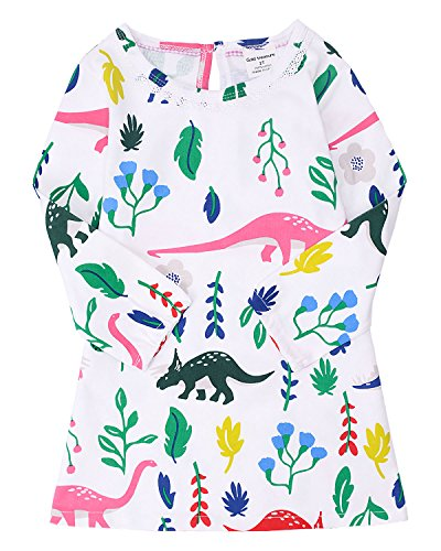 Baumwoll-print-nachthemd (backbuy Baby Mädchen Langarm Kleid Print 100% Baumwolle Prinzessin Kleid Nachthemd Nachthemd Pyjama Set (2-7) 7 Jahre (4 Jahre, Mehrfarbig))
