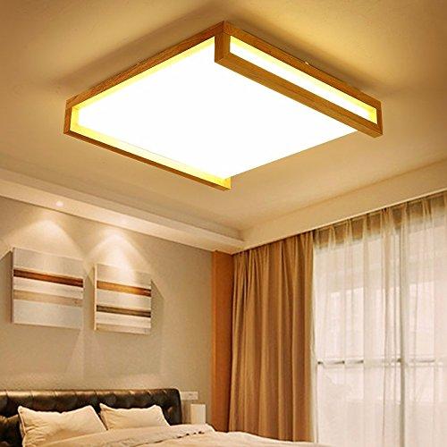 LPLFCeiling Moderne Minimalistische Lampen Baumstämme Rechteckige Deckenleuchten Led Neue Häuser Holz50 × 50 × 11 Cm Das Nahost - Quartett Deckenbeleuchtung