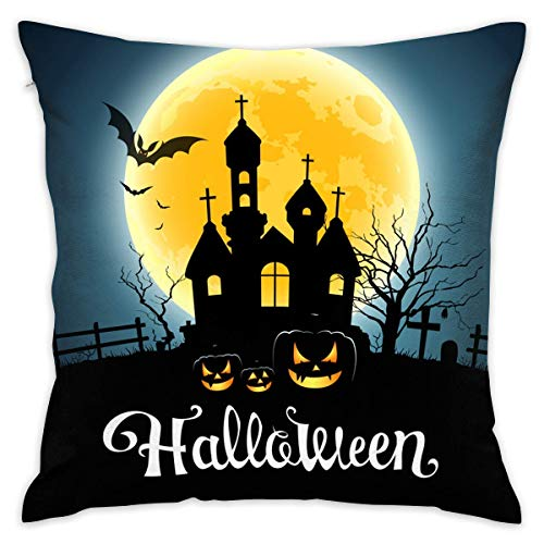 lloween House Pumpkin Monn Night,Pillow Covers Decorative Pillowcase Cushion Covers with Zipper ()