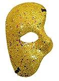 KIRALOVE Maschera metà Volto - Fantasma dell'opera - Colorata con Glitter - Costume - Travestimento - Carnevale - Halloween - Cosplay - Colore Oro