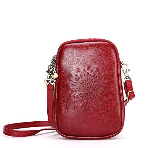 NEVEROUT Damen Jahrgang Aushöhlen Stil Handytasche Mini Leder Schulter/Messenger/Umhängetasche Flap Bag Schwarz/Rot/Braun (NP2287) (Wine red) (Handtasche Schulter-stil Tasche)