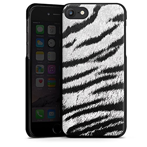 Apple iPhone X Silikon Hülle Case Schutzhülle Weißes Tiger Fell Look Muster White Animal Print Hard Case schwarz
