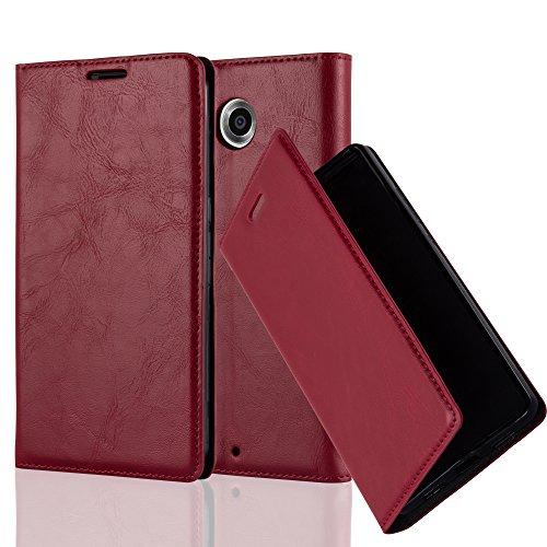 Cadorabo Hülle für Lenovo Google Nexus 6 / 6X - Hülle in Apfel ROT – Handyhülle mit Magnetverschluss, Standfunktion und Kartenfach - Case Cover Schutzhülle Etui Tasche Book Klapp Style