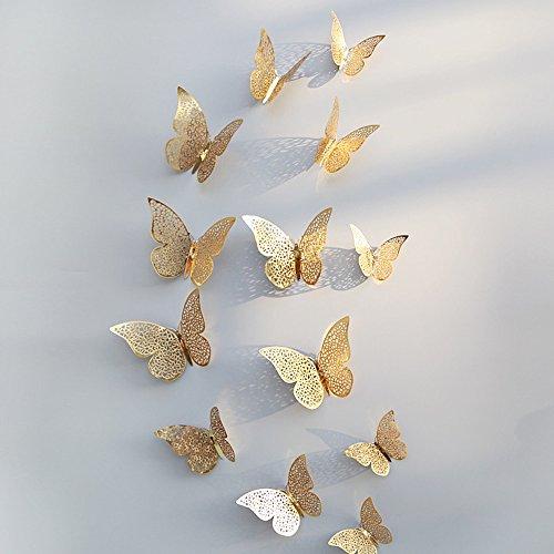 exklusive wohnwaende Berrose-12 Stücke 3D Hohlwandaufkleber Schmetterling Kühlschrank für Heimtextilien wandtattoos Wandtattoo Wandaufkleber Sticker Wanddeko Schlafzimmer Wohnzimmer