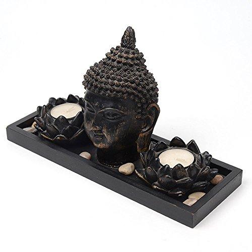 Giardino Zen Thai Statua Buddha Portacandela Lotus Tealight Decorazione Thai