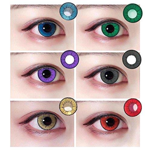 Ncient 1Pc Lentilla Colores Lentes de Suave para Gran diámetro Ojos Cosplay Maquillaje