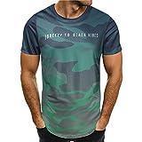 POIUDE Tops Tankshirt Muscle Ärmelloses Persönlichkeit Tarnung Männer Beiläufig Schmales Kurzarmhemd Bluse(Grün, M)
