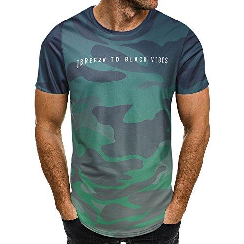 HULKY Vendita di Liquidazione Aggiornamento Uomini Tee Shirt Slim Hipster Hip Hop Camouflage Stampa Girocollo Manica Corta T-Shirt Top per Gli Uomini(Verde 3,XX-Large)
