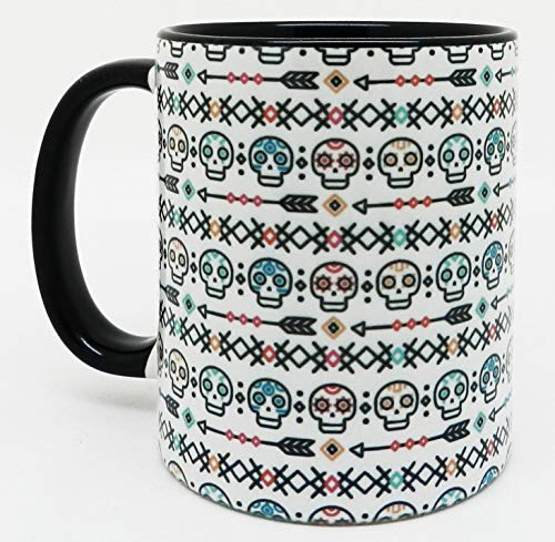 (Half a Donkey Day of the Dead Skulls Design Mug with glazed black handle and inner)