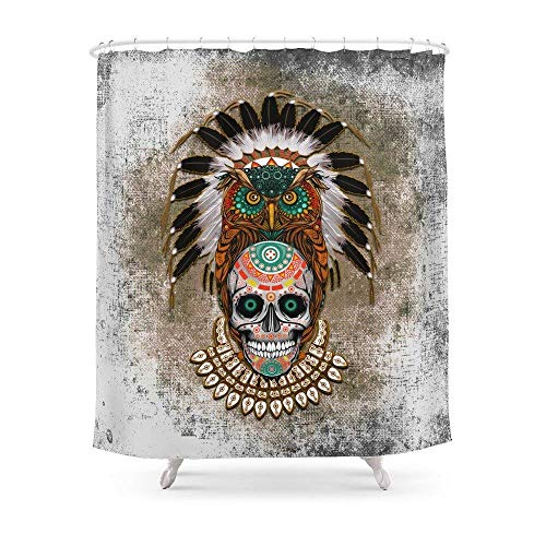 Badezimmer Indian Native Eule Sugar Skull iPhone 4 4S 5 5 C 6 7, iPod, iPad Kissen Fall Duschvorhang 182,9 cm von 182,9 cm