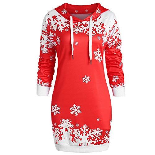 VEMOW Heißer Einzigartiges Design Mode Damen Frauen Frohe Weihnachten Schneeflocke Gedruckt Tops Cowl Neck Casual Sweatshirt Bluse(X1-a-c-Rot, EU-36/CN-M)