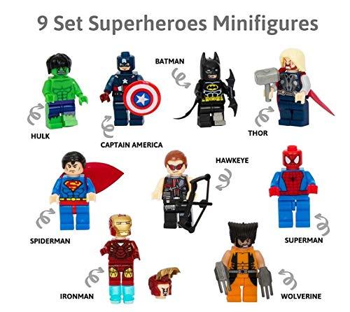 n 9 Minifiguren der Superhelden von Marvel Comics und DC Comics mit ihren Werkzeugen und Kostümen / Batman, Thor, Hulk, Captain America und viele andere. ()