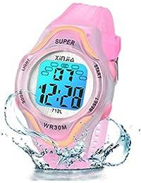 Reloj Digital para niños, 7 Colores, con luz LED, para niños, niñas, Resistente al Agua, Reloj Deportivo Digital para niños (Rosa)