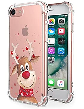Funda iPhone 7/8 Funda Silicona TPU para iPhone 7/8 Carcasa Transparente Soft Clear Case Cover Funda Blanda Flexible...