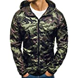 OSYARD Herren Camouflage Full-Reißverschluss Jacken, Herbst Casual Zip Militär Camouflage Langarm Hoodie Top Bluse Kapuze Sweatshirt Kapuzenpullover Mantel (XL, Armeegrün)