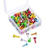 Willbond 150 Stück Mini Brad Verschiedene Farben Abgerundet Brad Pastell Brad mit Kunststoff Aufbewahrungsbox für Scrapbooking Handwerk Herstellung Stanzen und DIY
