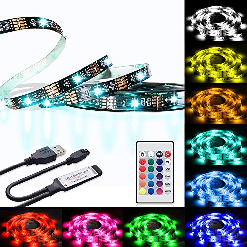 LED TV Strips Backlight, U2C 6.6FT/2M Bias Lighting with RGB 16 Colors IR Controller for Led Strip Lights Kit for Home Theater, PC, Laptop Background Lighting