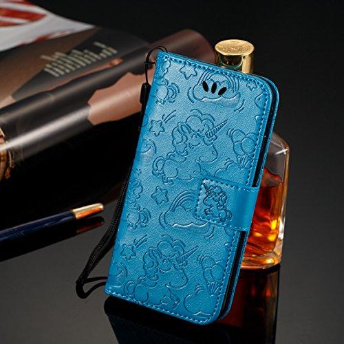 Funda Huawei Honor 8 2017,TOUCASA® PU Cuero Billetera Ranuras para Tarjetas y Billetera TPU Silicona Case Interna Suave Diseño de Colorido en relieve unicornio nueva llegada Magnético Función Delgado Funda para Huawei Honor 8 2017-Color Azul