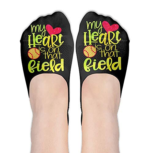 Doormat-bag My Heart Is On Softball Field Women's Performance Comfort Fit No-Show Socks. -