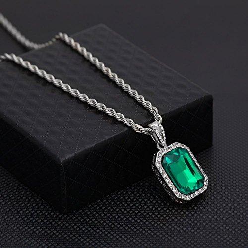 Aoligei Europa y Estados Unidos Hip hop mini diamante pequeña joya colgante mini hombre de hip-hop boutique rubí collar de piedras preciosas