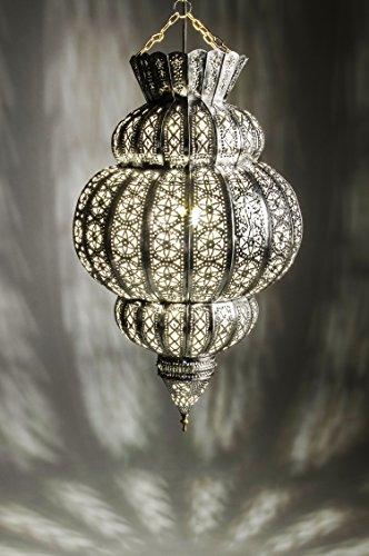 Orientalische Lampe Pendelleuchte Silber Harem 45cm E27 Lampenfassung | Marokkanische Design Hängeleuchte Leuchte aus Marokko | Orient Lampen für Wohnzimmer, Küche oder Hängend über den Esstisch - Silber Wand-lampe
