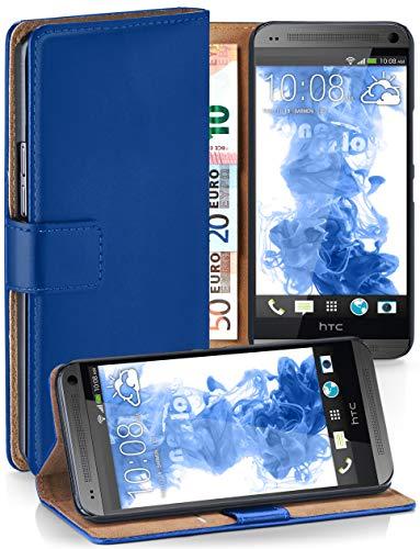 moex HTC One Mini | Hülle Blau mit Karten-Fach 360° Book Klapp-Hülle Handytasche Kunst-Leder Handyhülle für HTC One Mini M4 Case Flip Cover Schutzhülle Tasche