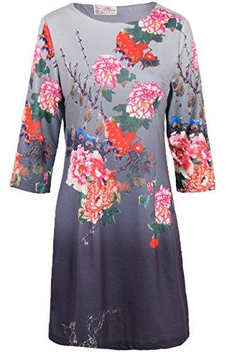 QED Damen Kleid Tunika Regular Fit & 3/4-Ärmel, Dip-Dye & Blumenmuster, 100% Polyester - Mehrfarbig